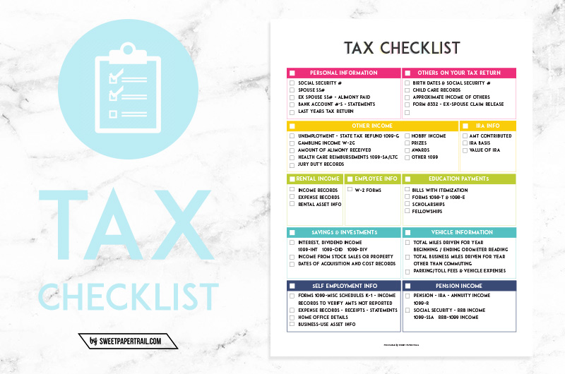 Self Employed Taxes How to Get Organized Sweet Paper Trail – Self Employment Tax and Deduction Worksheet