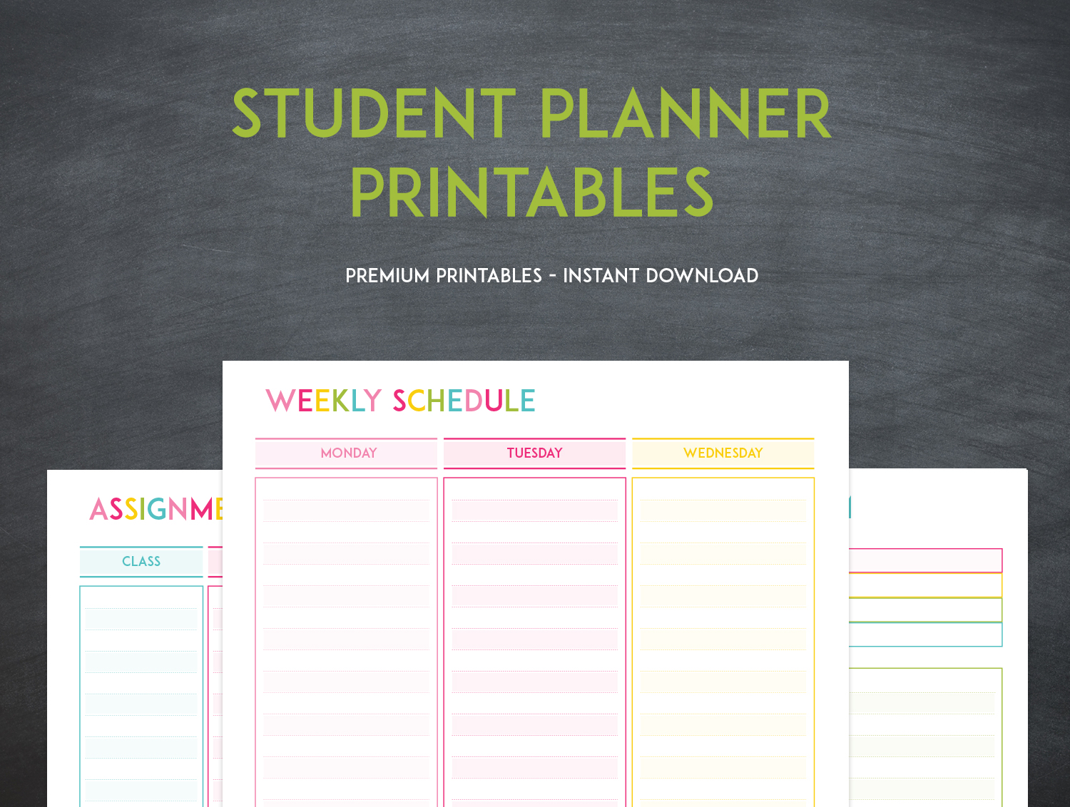 Printable Student Planner - Keeping your grades up has
