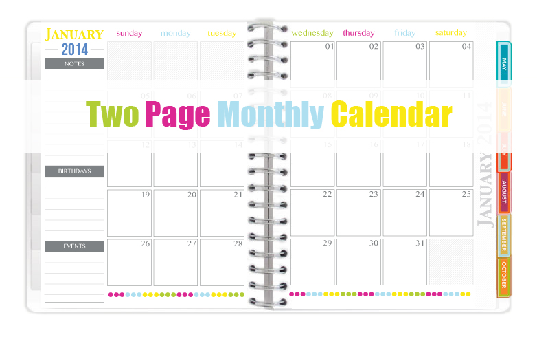 two page monthly 2014 calendar sweet paper trail